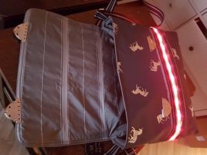 Die Tasche ist mit zwei Metallschnallen zu schließen. Im Inneren ein schönes Futter mit Glitzerstreifen und eine Innentasche für Kleinzeug, sowie eine kleine Innentasche, die den Batteriekasten mit Ein- und Ausschalter enthält. Ein einzigartiges Stück, handgemacht, Preis: 89,-€